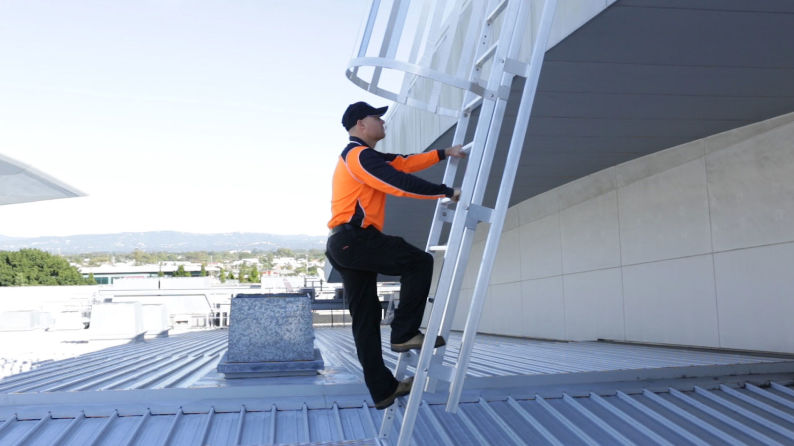 Roof Access Cage Ladders Safe At Heights Brisbane Queensland 5