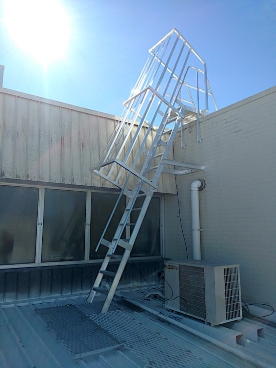 Roof Access Caged Ladder Safe At Heights Brisbane Queensland
